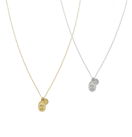 The Emma - St Christopher & Disc Necklace - Gold, Silver >>
