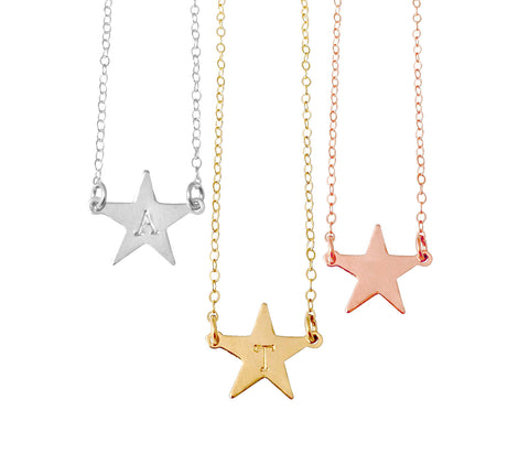 The Erica Large Star Initial Necklace in Gold, Silver Colors