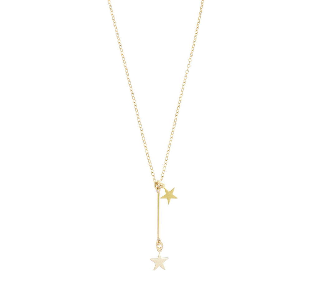 The Eva - Bar and Star Necklace - Gold, Silver >>