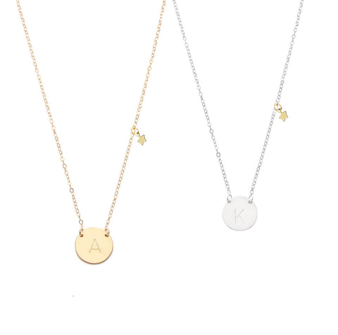 Classic Font - Initial Necklace Mini Star
