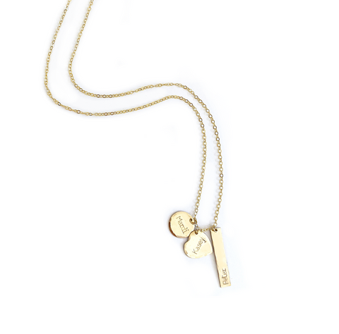 The Farrah - Mixed Charm Custom Necklace - Gold or Silver >>