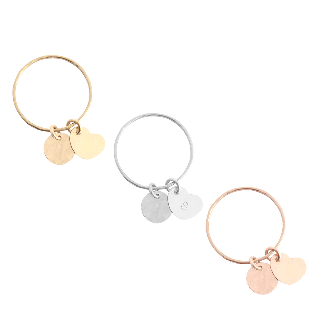 Fine Ring with Heart and Disc Charms in Gold, Silver & Rose Gold