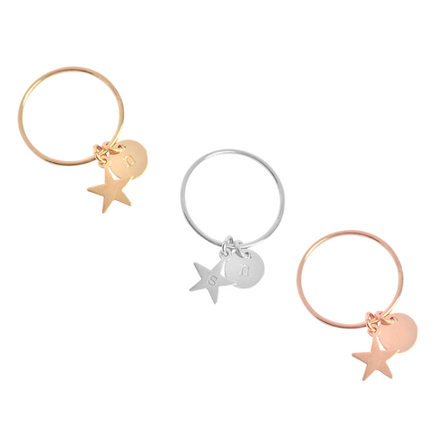 Fine Ring with Star and Disc Charm in Gold, Silver