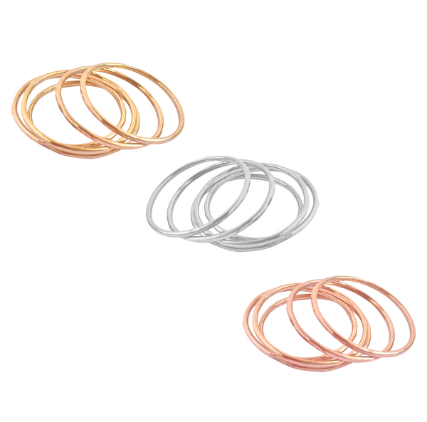 Fine Rings Set Of 5 in Gold, Silver, Rose Gold