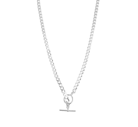 The Frankie Thick Flat Curb Toggle Silver Necklace