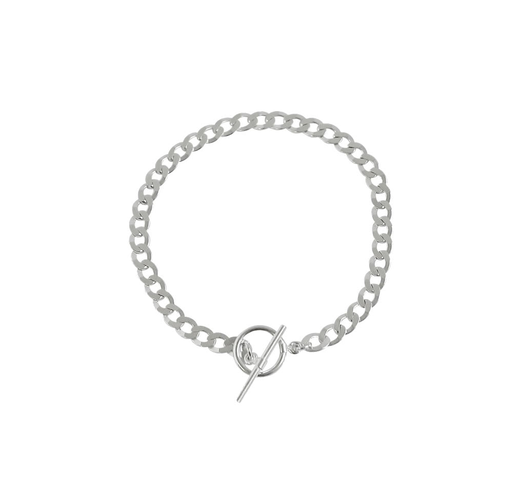 The Frankie - Thick Silver Chain Toggle Bracelet >>