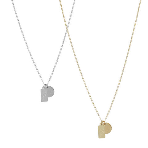 Frida Tag and Disc Necklace in Gold & Silver