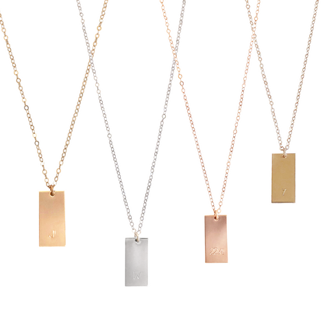 The Gia - Large Tag Necklace - Gold, Silver, Rose Gold >>