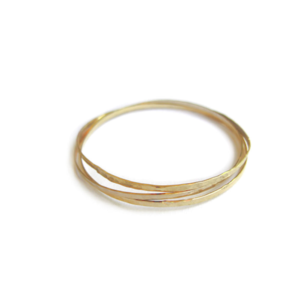 Organic Bangles Set Of 3 in Gold Color