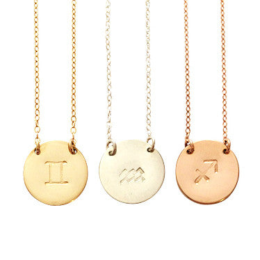 Zodiac Disc Necklace - SAGITTARIUS - Nov 23 - Dec 21 - Gold, Silver, Rose Gold >>