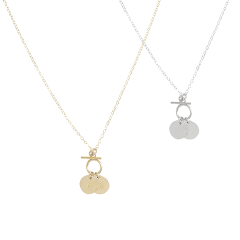 Goldie Double disc and toggle necklace - Gold, Silver >>