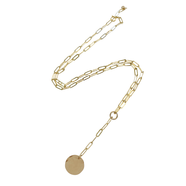 Gwen Disc Lariat Necklace in Gold Color