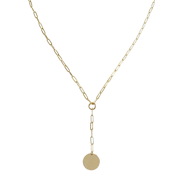 Gwen Disc Lariat Necklace in Gold Colour