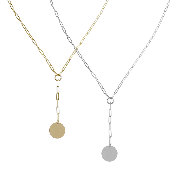 Gwen Disc Lariat Necklace in Gold, Silver Color