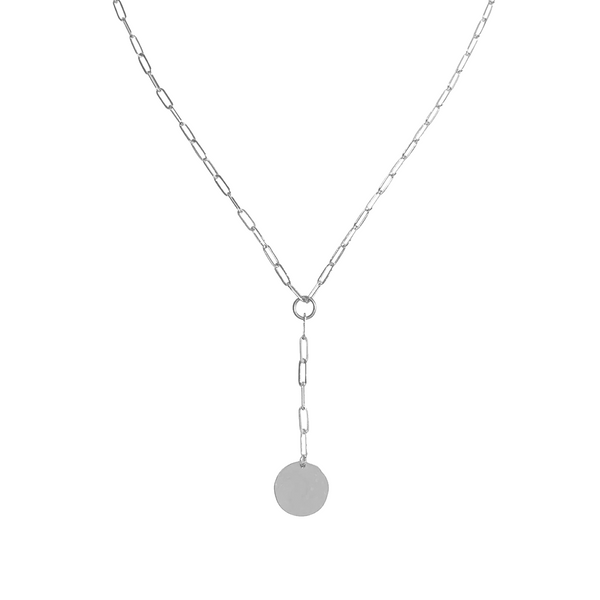 Gwen Disc Lariat Necklace in Silver Color