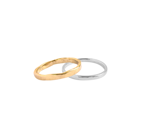 Hammered Ring Band - Gold,Silver color Ring