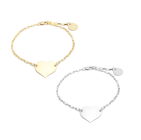 Heart Bracelet in Gold and Silver