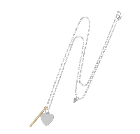 Heart and Bar Charm Necklace - Gold, Silver >>