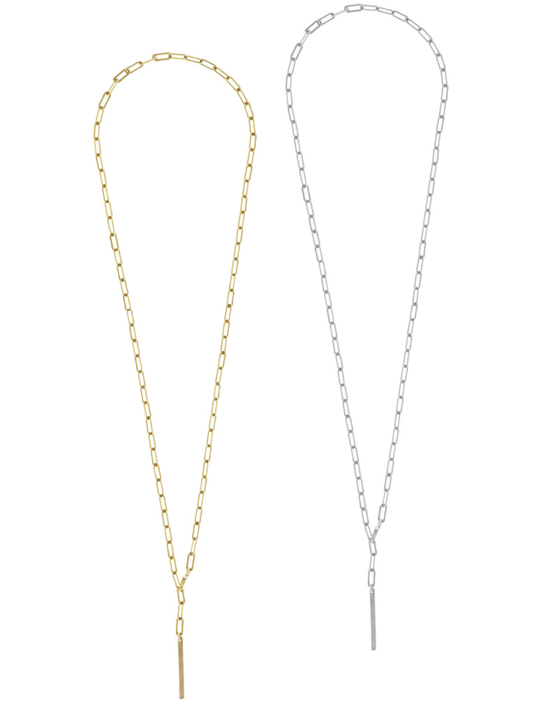 Heavy Chain Lariat Necklace in Gold and Silver Colors