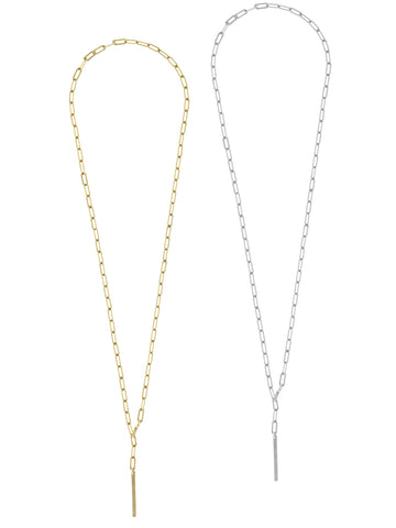 Heavy Chain Lariat Necklace - Gold and Silver >>