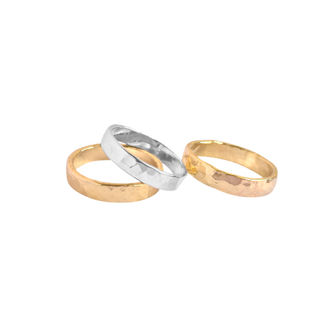 Heavy Hammered Ring Band - Gold, Silver >>
