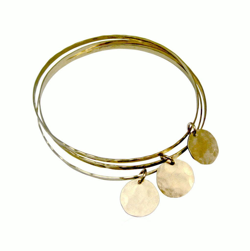 Organic Bangles Set Of 7 in Gold, Silver Colors