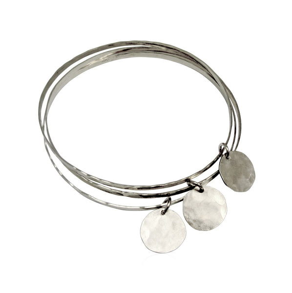 Organic Bangles Set of 3 with Charms - Gold, Silver >>