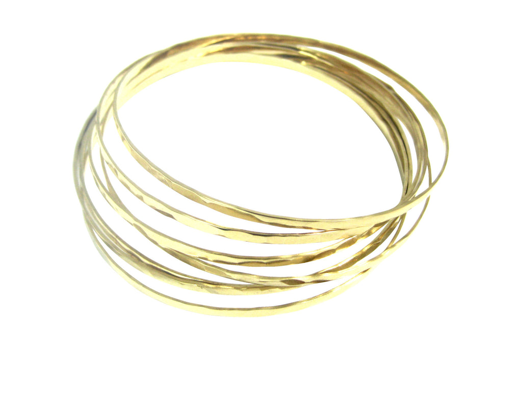 Organic Bangles Set of 7 - Gold, Silver >>