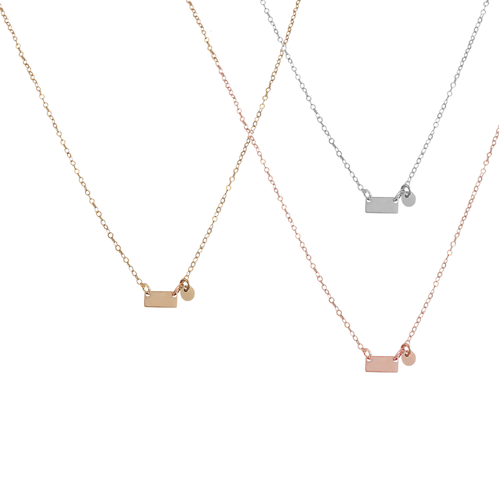 The Indi - Mini Tag and disc necklace - Gold, Silver, Rose Gold >>