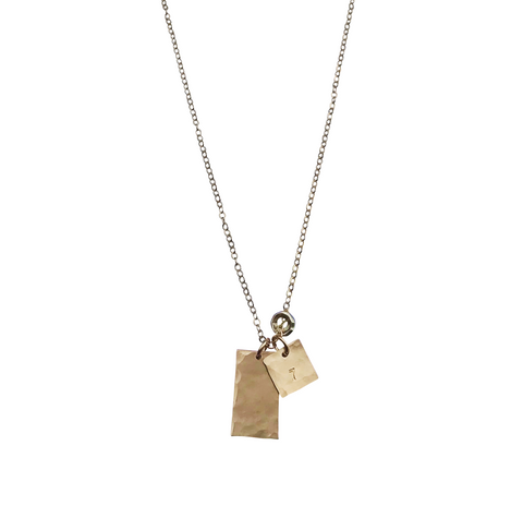 The Jackson Medium Tag Necklace in Gold color