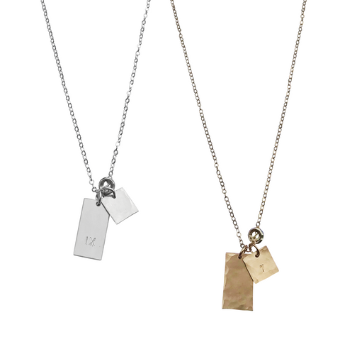 The Jackson - Medium Tag Necklace - Gold, Silver >>