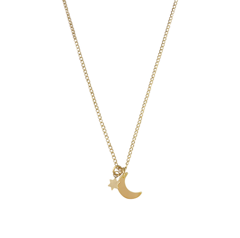 The Jasmine Mini Star and Moon Necklace Gold