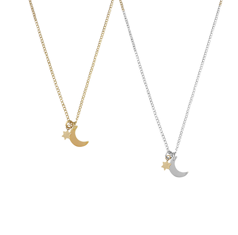 The Jasmine Mini Star and Moon Necklace Gold, Silver