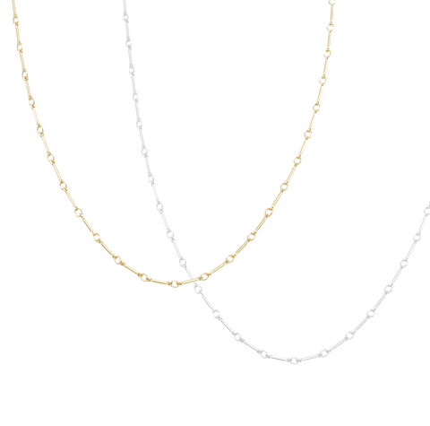 The Jemma Adjustable Fine Bar Chain Choker Gold,Silver