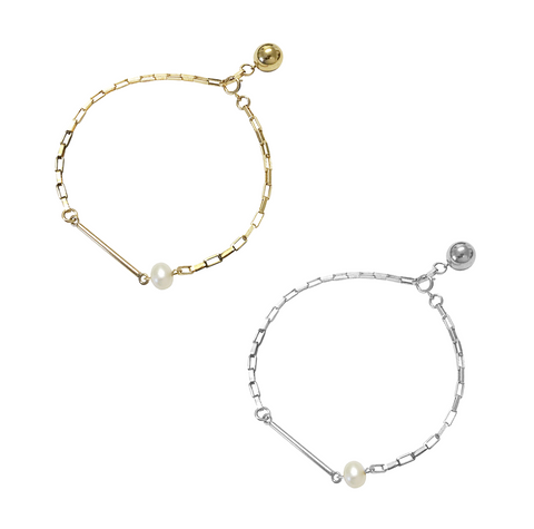 The Dallas - Pearl and Bar Bracelet - Gold, Silver >>