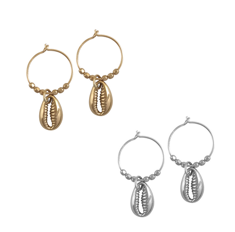 Cowrie Shell Earring in Gold and Silver