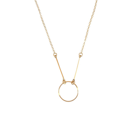 The Kelis - Ring and Bar Necklace- Gold, Silver >>
