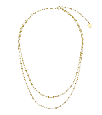 Kendell Double Chain Necklace - Gold, Silver >>