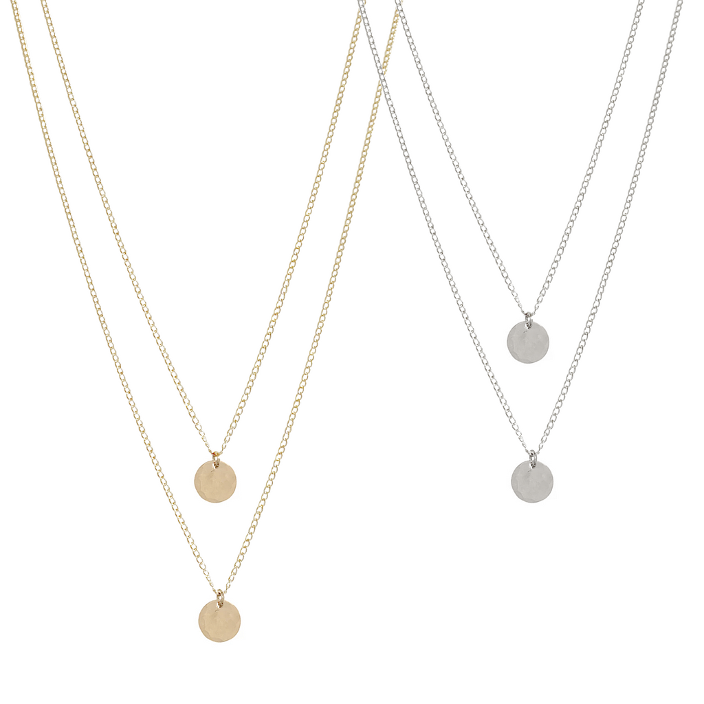 The Keri - Double Chain Disc necklace - Gold, Silver, Rose Gold >>