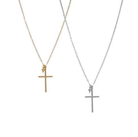 The Lana Double Cross Necklace in Gold, Silver, Rose Gold