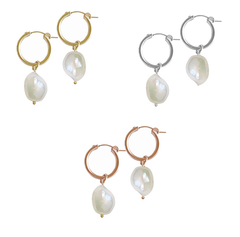 Baroque Pearl Paris Hoop Earring - Gold, Silver, Rose Gold >>