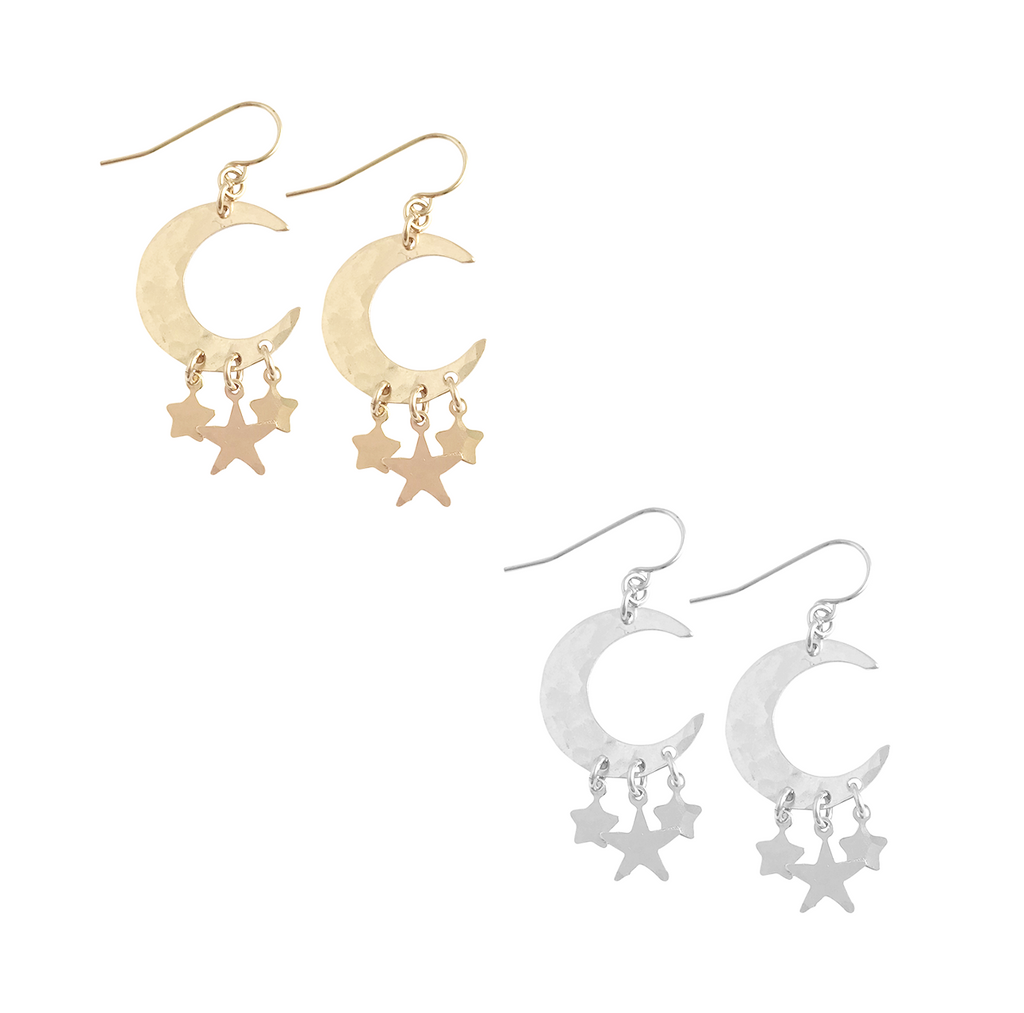 Large Moon with Triple Star Charms Earring - Gold, Silver >>