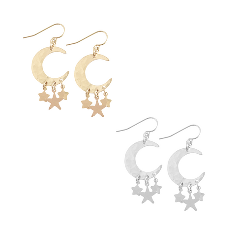 Large Moon with Triple Star Charms Earring in Gold & Silver Color