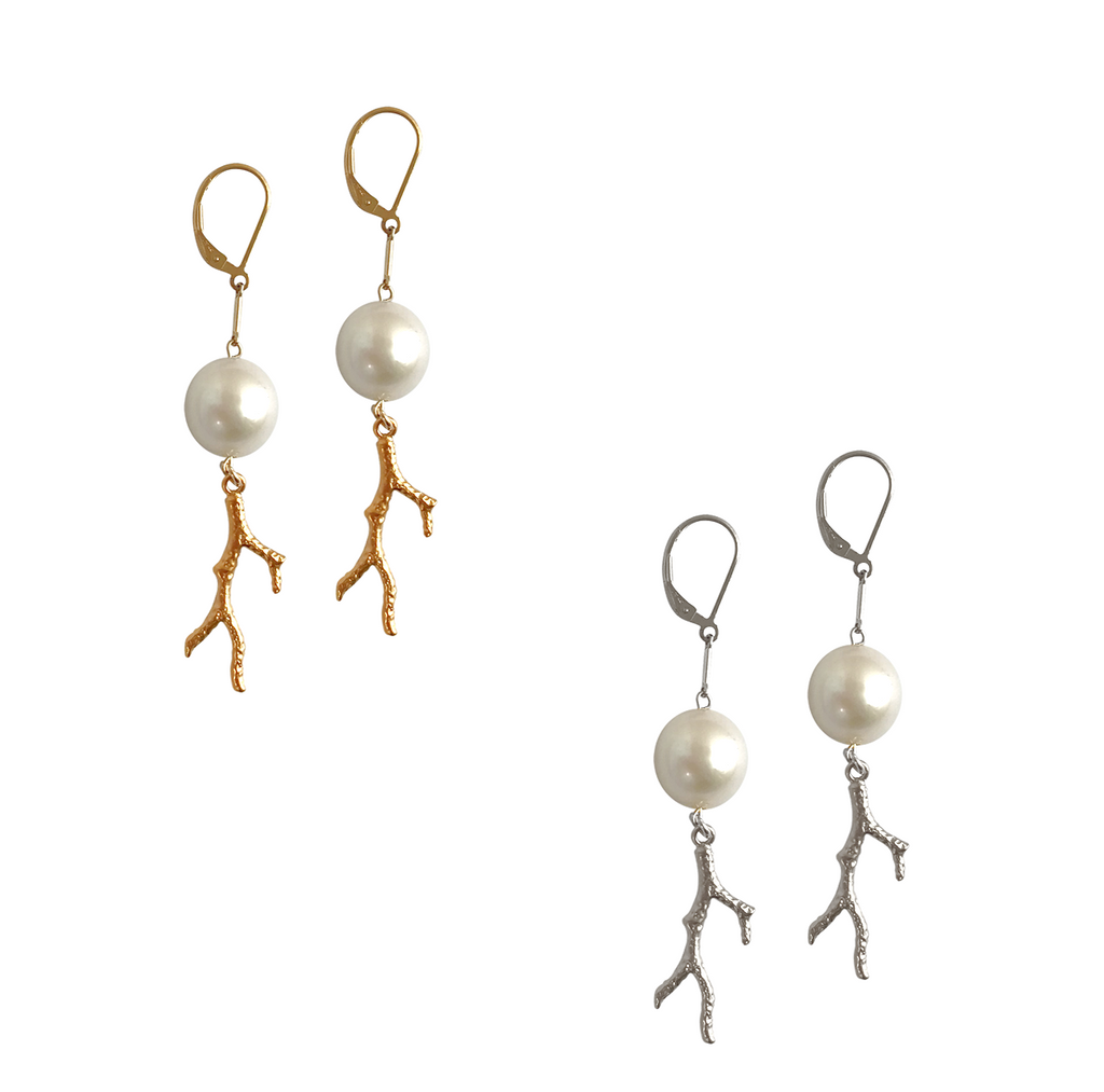 Baroque Pearl and Coral Charm Earring in Gold, Silver