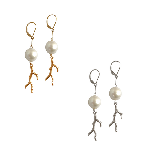 Baroque pearl and Coral charm earring - Gold, Silver >>