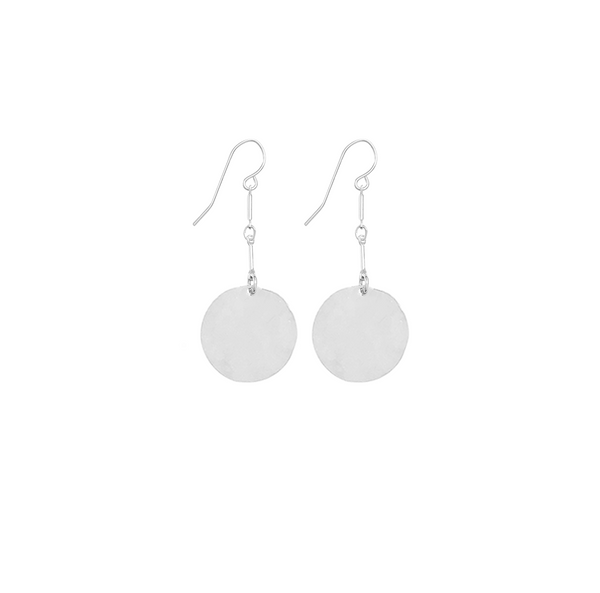 Hammered Large Disc Earrings on Double Bar in Silver color