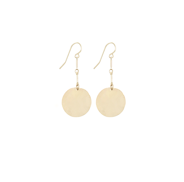 Hammered large disc earrings on double bar - Gold, Silver >>