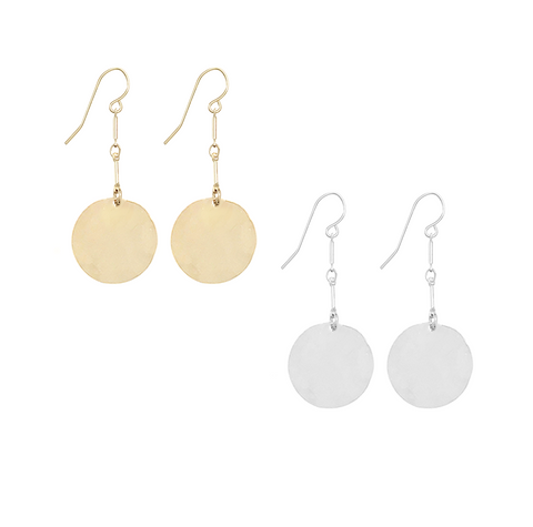 Hammered Large Disc Earrings on Double Bar in Gold & Silver