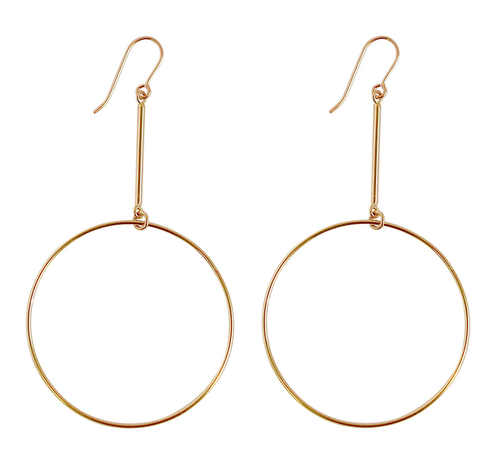 Large Ring on Bar Earrings in Gold and Silver Color