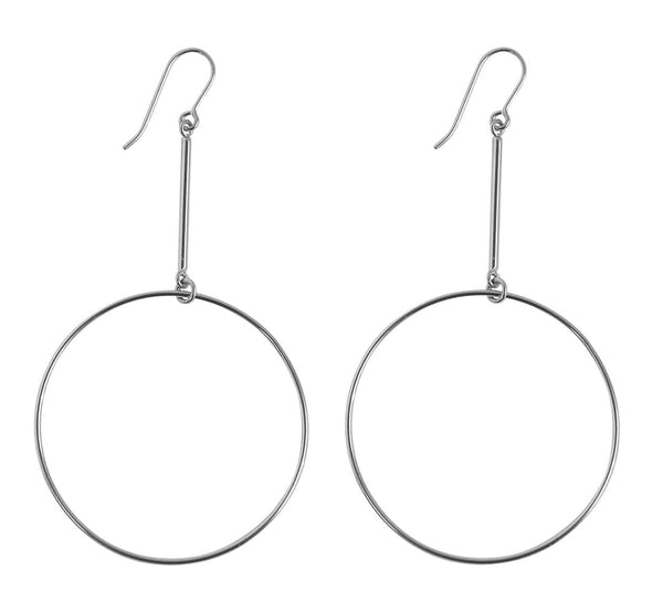 Large Ring on Bar Earrings in Silver Color